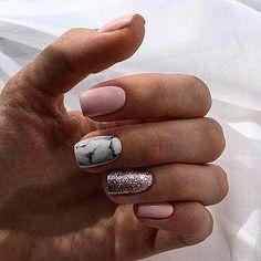 beautiful acrylic short square nails design for french manicure nails 17 ~ . beautiful acrylic short square na. Stylish Nails, Trendy Nails, Cute Nails, Spring Nail Art, Spring Nails, Hair And Nails, My Nails, Jolie Nail Art, Nail Art Noel