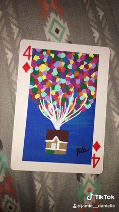 Painting Disney Cards Day 8 -Up? Easy Canvas Art, Simple Canvas Paintings, Small Canvas Art, Cute Paintings, Mini Canvas Art, Playing Card Crafts, Playing Cards Art, Disney Canvas Art, Disney Art Diy