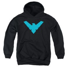 BATMAN/NIGHTWING SYMBOL-YOUTH PULL-OVER HOODIE - BLACK -