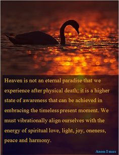 Heaven is not an eternal paradise that we experience after physical death; it is a higher state of awareness that can be achieved in embracing the timeless present moment. We must vibrationally align ourselves with the energy of spiritual love, light, joy, oneness, peace and harmony.