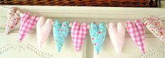 Shabby Chic 9 Heart Fabric Garland Pink Gingham by RubyRedcrafts, $18.00