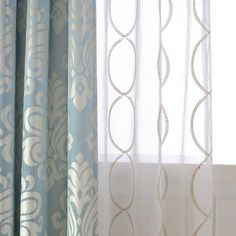 A Pair of Gold Leaf Infinity Patterned Embroidey Sheer Curtains Made to Order Upto Embroidered Leaf Pattern On Soft White Sheer Fabric - rather like these (just the gold sheer. Damask Curtains, Dining Room Curtains, Cute Curtains, White Sheer Curtains, Blue Drapes, Elegant Curtains, Modern Curtains, Colorful Curtains, Patterned Curtains