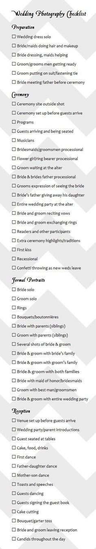 Wedding photo checklist