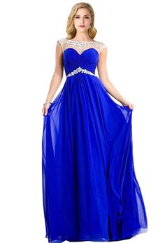Real Photo Cap Sleeves Crystal Chiffon Long Blue Prom Dresses 2016 Yellow Red…