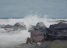 Atlantic Waves, Fresh Wind, Saligo Bay, oil on board, 22 x 15 inches