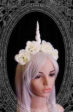 Unicorn Fascinator  headdress white fantasy by BlackUnicornShop, €43.00