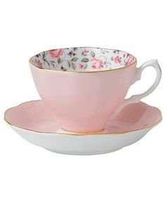 Scattered with dainty blooms, the Rose Confetti Vintage cup and saucer restore the grace and charm of another era in fine bone china from Royal Albert. Scalloped edged with gold banding and a traditio