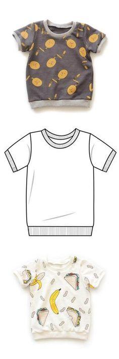 Freebook für ein Kinder-T-Shirt Jersey. PDF-Schnittmuster Größe 62 ...