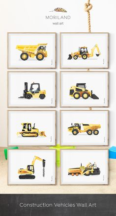 Digger Print, Construction Art Print, Toddler Boys Room Decor, Truck Print, Transportation Wall Art, Birthday Printable, Instant Download, Watercolor, Yellow, Wall Decor, Ideas, Bedroom, Playroom Vehicles, Printable, Birthday Party Decorations, Edible Paper for Cake, DIY, Signs. By MORILAND Wall Art