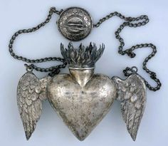 Ex-voto, Allegory of Pneuma or Divine Breath, ca. Heart Art, Love Heart, Beaded Beads, Antique Jewelry, Vintage Jewelry, Antique Silver, Sacred Heart, Dandy, Heart Shapes