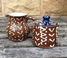 Vintage Brown & White Slip Decorated Sugar Bowl and by CapeVintage White Slip, Lake District, Sugar Bowl, Pottery, Etsy Shop, Decoration, Trending Outfits, Brown, Unique Jewelry