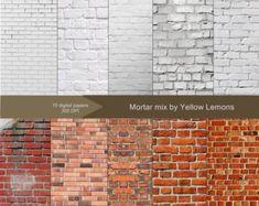 "Brick Texture Digital Paper ""BRICK AND MORTAR"" white brick, painted, grunge brick, background, textu Painted Brick Exteriors, Painted Brick Walls, Painted White Brick House, Painted Brick Homes, Whitewash Brick House, Fake Brick Wall, Painted Brick Fireplaces, White Wash Brick Exterior, Exterior Paint"
