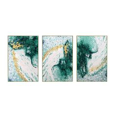 Set of 3 Hand Painting Modern Abstract Green Gold White   Etsy Large Framed Wall Art, Large Art Prints, Gold Leaf Art, Gold Art, Abstract Tree Painting, Abstract Canvas, Wave Art, Painting Process, Wall Art Pictures