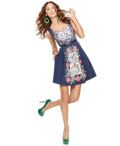 Desigual Dress, Sleeveless Scoop Neck Mixed Print Pleated A Line