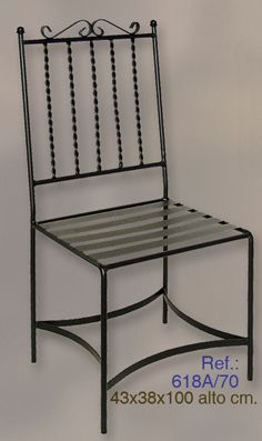 SILLA DE FORJA MODELO 618A Wrought Iron Chairs, Wrought Iron Decor, Metal Chairs, Patio Chairs, Welded Furniture, Iron Furniture, Steel Furniture, Rustic Furniture, Restaurant Bar Stools