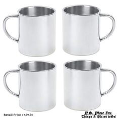 4pc 15oz Double Wall Stainless Steel Camping Drinkware Coffee Cup Gift Set #Maxam
