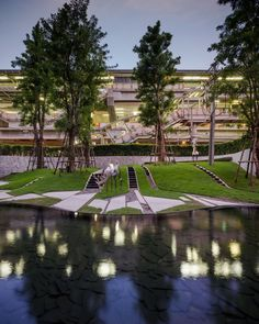 The Forest and Pool at Pyne in Bangkok by TROP Terrains + Open Space mixes zen garden design and a forest refuge to create a beautiful development. Contemporary Landscape, Urban Landscape, Landscape Design, Zen Garden Design, Urban Planning, Landscape Architecture, Architecture Portfolio, Architecture Photo, Water Features