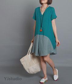 Cotton dress, Blue dress, Yellow Dress, Orange dress, V neck dress, Short Sleeve, summer dress, loose fitting dress, Maxi Dress, Party Dress...