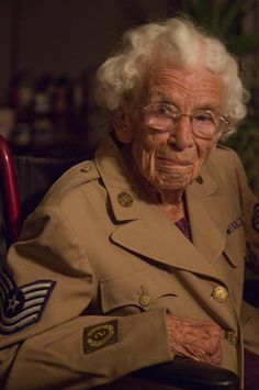 Meet Emma Pogge. Emma is 100 years old and one of the oldest living World War II women veterans. She enlisted in the Women's Army Corps in 1943 and served both in the United States and overseas. She can still wear her WAC uniform ~