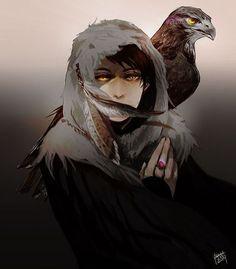 boy, bird, anime, and art image