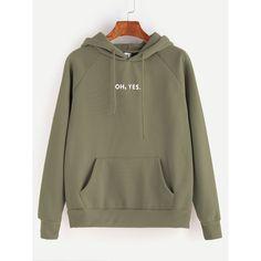 Letter Print Raglan Sleeve Drawstring Hooded Pocket Sweatshirt ($11) ❤ liked on Polyvore featuring tops, hoodies, sweatshirts, green, long sleeve tops, green top, pullover sweatshirt, long sleeve sweatshirt and sweatshirt hoodies