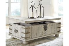 Signature Design by Ashley Furniture Gray Carynhurst Lift-Top Coffee Table Lift Top Coffee Table, Coffee Table With Storage, Lift Table, Butcher Block Wood, Top Cocktails, Storage Trunk, Decorating Coffee Tables, At Home Store, Cocktail Tables
