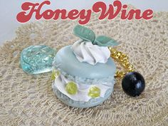Charm  Mint blue macaroon with a blueberry and a by HoneyWineYdr, ¥600