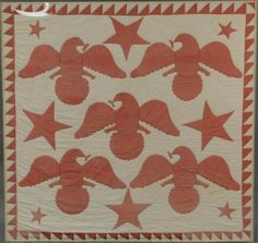 """""""Five Eagles and Stars"""" with sawtooth border, circa 1880"""