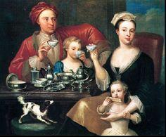An English Family at Tea, painting by Joseph van Aken, 1720