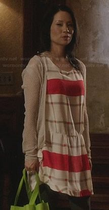 Joan's white and red checked drop waist dress on Elementary.  Outfit Details: http://wornontv.net/26649/ #Elementary