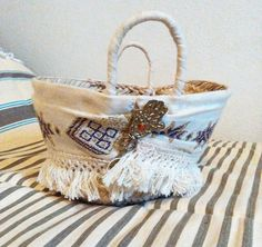 straw  small tunisian basket by weloveboho on Etsy