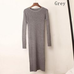 62a65293a77 Autumn Winter Warm Knitted Long Sweater Dress Women Sexy V Neck ...