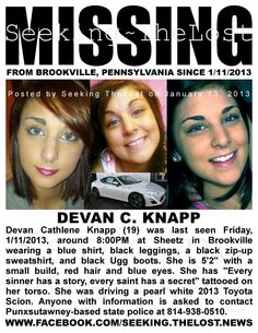 Missing Teen and Car: Devan Knapp (19) missing from BROOKVILLE PA since 1/11/2013.