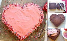 The easy steps to make a heart-shaped cake without a fancy pan! So easy!