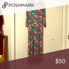 Long Vintage Polyester dress with side split Super Psychedelic Vintage  long polyester dress with side split Vintage Dresses Maxi