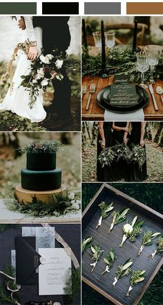Black Gold Wedding olive and black winter woodsy wedding color ideas - When it comes to the wedding planning part, the first thing couples have to decide is the wedding colors, which helps create an atmosphere and. Wedding Aisles, Woodsy Wedding, Dream Wedding, Wedding Day, Wedding Receptions, Winter Themed Wedding, Wedding Centerpieces, Elegant Wedding, Wedding Favors