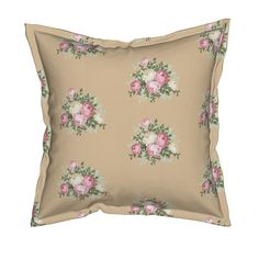 Serama Throw Pillow featuring Pretty Shabby Chic Small Rose Beige by thatsgraphic | Roostery Home Decor
