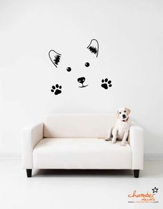 Cute Dog Wall Decal. $17.00, via Etsy. I'd get it without the paws