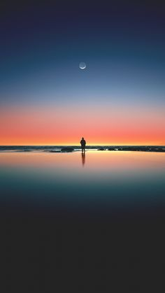 Sunset, beach, sea, horizon, silhouette, moon, 720x1280 wallpaper