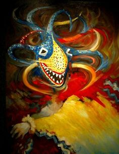 Vejigante- Puerto Rican folklore: colorful and frightful demons who scared people to go back to church.