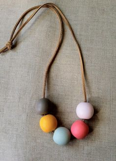 Modern Geometric Wood Bead Necklace by thislovesthat on Etsy Wooden Bead Necklaces, Wooden Beads, Handmade Necklaces, Handmade Jewelry, Ceramic Jewelry, Wooden Jewelry, Beaded Jewelry, Polymer Clay Necklace, Polymer Clay Beads