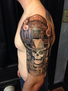 http://tattooideas247.com/skeleton-cowboy-tattoo/ Saloon & Skeleton Cowboy Sleeve #Saloon, #ShoulderTattoo, #SkeletonCowboy, #Sleeve