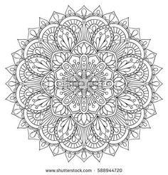 Oriental decorative element for adult coloring book. Ethnic ornament. Monochrome contour mandala, Anti-stress therapy pattern. Decorative abstract flower illustration. Yoga symbol.