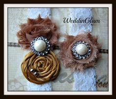 Fall Wedding Garter - Wedding Garter -Bridal Garter - Vintage Garter - Brown Gold Garter -vintage gold weddding- Wedding accessory