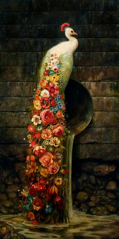 """culturenlifestyle: """" Stunning Evolution Of Surreal Animal Paintings Within Post-Apocalyptic Environments Brooklyn-based painter Martin Wittfooth creates stunning paintings of animals and their roles. Beautiful Birds, Animals Beautiful, Martin Wittfooth, Art Fauvisme, Motifs Animal, Peacock Art, Peacock Colors, Peacock Feathers, Colorful Birds"""