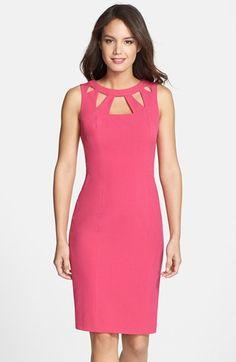 Nordstrom Dresses - Eliza+J+Cutout+Detail+Sheath+Dress+(Petite)+available+at+ Dress For Petite Women, Work Dresses For Women, Petite Dresses, Trendy Dresses, Nice Dresses, Casual Dresses, Fashion Dresses, Formal Dress Patterns, Wedding Skirt