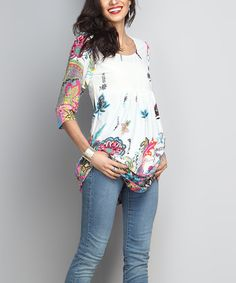 Another great find on #zulily! White Paisley Empire-Waist Tunic #zulilyfinds