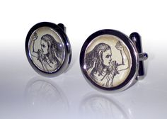 Alice in Wonderland hand made cufflinks   A great gift for adding a touch of the macabre to any formal occasion!   Chrome 20mm cufflinks with an image of Alice from Alice in Wonderland. Capped with a clear dome. #aliceinwonderland #aliceinwonderlandcufflinks #alicecufflinks