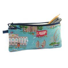 Londres crayon cas sachet Zip crayon bleu sac par modernandvintage, £11.00