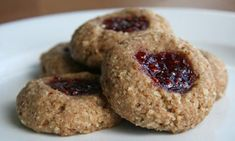 These cute vegan pecan-filled thumbprint cookies can be made with any flavor of jam you have on hand. Get the recipe: vegan thumbprint cookies Whole Food Recipes, Cookie Recipes, Vegan Recipes, Dessert Recipes, Thumbprint Cookies Recipe, Thanksgiving Treats, Fall Treats, Healthy Sweets, Healthy Food
